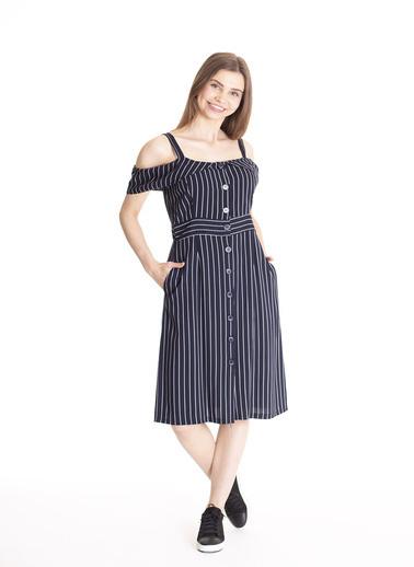 Stamina Çizgili Askılı Elbise Lacivert